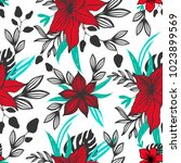 exotic flowers seamless pattern ... | Shutterstock .eps vector #1023899569