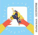 vector cartoon illustration of... | Shutterstock .eps vector #1023900988