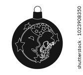 ball single icon in black style.... | Shutterstock . vector #1023908350