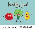 cartoon funny tomato broccoli... | Shutterstock .eps vector #1023909649