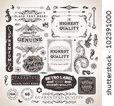 Stock vector retro label style collection vintage page elements set 102391000