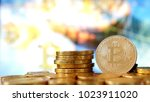 bitcoin symbol. crypto currency ... | Shutterstock . vector #1023911020