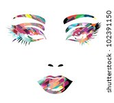 colorful vector girl face   Shutterstock .eps vector #102391150