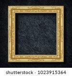 gold frame on dark grey black... | Shutterstock . vector #1023915364