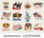 native american set. old ... | Shutterstock .eps vector #1023922009