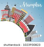memphis usa city skyline with... | Shutterstock .eps vector #1023930823