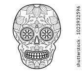day of the dead colorful skull...   Shutterstock .eps vector #1023932596