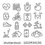 fitness and gym line icons set... | Shutterstock . vector #1023934150