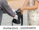 the robber snatched the girl's... | Shutterstock . vector #1023934870