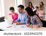 picture of young architects... | Shutterstock . vector #1023942370