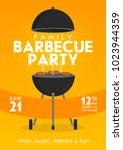 lovely vector barbecue party... | Shutterstock .eps vector #1023944359