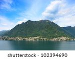 Small photo of Laglio village, Como Lake district landscape. Laglio is famous due to George Clooney italian Villa Oleandra residence, on left side on this image. Lombardy, Italy, Europe.