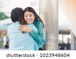 portrait of happy asian women... | Shutterstock . vector #1023948604