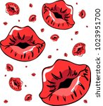 sexy pattern with red kisses... | Shutterstock .eps vector #1023951700