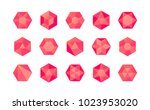set of colorful red isometric...   Shutterstock .eps vector #1023953020