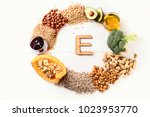 vitamin e rich food. top view.... | Shutterstock . vector #1023953770