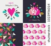 happy valentine's day  set. | Shutterstock .eps vector #1023956014