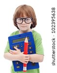 Boy genius concept - child with large glasses, pencil and calculator - stock photo