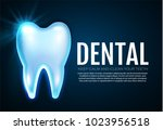 shining helthy tooth with... | Shutterstock .eps vector #1023956518