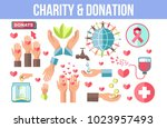 charity and donation themed... | Shutterstock .eps vector #1023957493