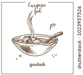 goulash soup sketch icon for... | Shutterstock .eps vector #1023957526