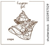 crepe pancake sketch icon for... | Shutterstock .eps vector #1023957529