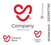 modern red heart line logo love ... | Shutterstock .eps vector #1023957760
