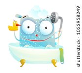 cute bathing monster with duck. ... | Shutterstock .eps vector #1023958249