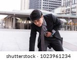 Small photo of businessman suffer from stomachache, concept with Healthcare And Medicine.