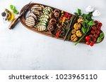 healthy summer food. a wide... | Shutterstock . vector #1023965110