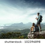 young backpackers enjoying a... | Shutterstock . vector #102396898