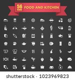food and kitchen vector icons... | Shutterstock .eps vector #1023969823