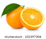 Orange Fruit Isolated On White...