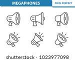 megaphones icons. professional  ... | Shutterstock .eps vector #1023977098