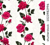 seamless pattern of red flowers ... | Shutterstock .eps vector #1023982996