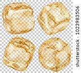 set of realistic translucent... | Shutterstock .eps vector #1023983506