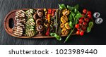 banner . a large wooden tray... | Shutterstock . vector #1023989440