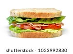 delicious ham and cheese... | Shutterstock . vector #1023992830