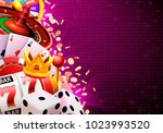 casino dice banner signboard on ... | Shutterstock .eps vector #1023993520