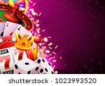 casino dice banner signboard on ... | Shutterstock .eps vector #1023993520