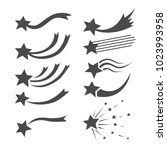 falling stars vector set with... | Shutterstock .eps vector #1023993958