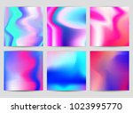 fluid iridescent multicolored... | Shutterstock .eps vector #1023995770