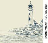 lighthouse on seashore vector...   Shutterstock .eps vector #102402100