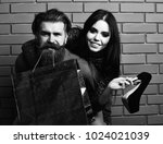 happy couple of bearded man ... | Shutterstock . vector #1024021039