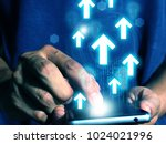 man press smart phone data | Shutterstock . vector #1024021996