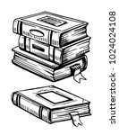 old books. hand drawn...   Shutterstock .eps vector #1024024108
