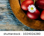 hand painted red easter eggs... | Shutterstock . vector #1024026280