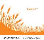 a set of spikelets of golden... | Shutterstock .eps vector #1024026430