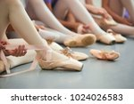 ballet dancer tying ballet... | Shutterstock . vector #1024026583