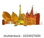travel to europe. road trip....   Shutterstock .eps vector #1024027600